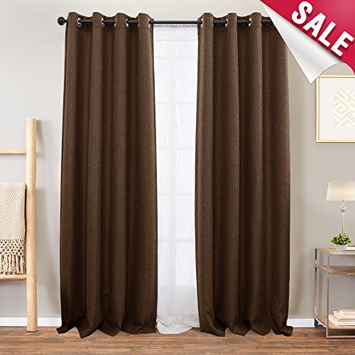 - Curtains Brown Linen Textured Blackout Curtains for Bedroom 84 inches Long Room Darkening Window Curtains Grommet Thermal Insulated Drapes for Living Room Curtain Panel, 1 Pair
