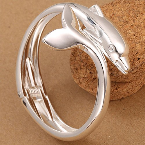 phitak shop Women Fashion Jewelry 925 Silver Charm Dolphin Cuff Bracelet Bangle Whale Animal