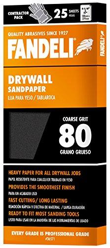 Fandeli 36571 080 Grit Drywall Sandpaper Sheets, 4-1/4