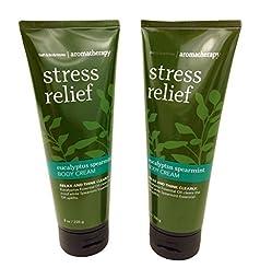 Bath & Body Works Aromatherapy Stress Relief Eucalyptus Spearmint Body Cream 8.0 oz, 226g (2 Pack)