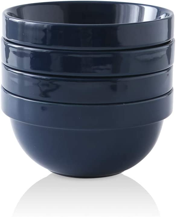 KOOV Porcelain Cereal Bowls, 24 Ounce Soup Bowl Set, Ceramic Bowl For Oatmeal, Chip, Rice Bowl, Breakfast Bowls Stackable Series Set of 4 (Aegean)
