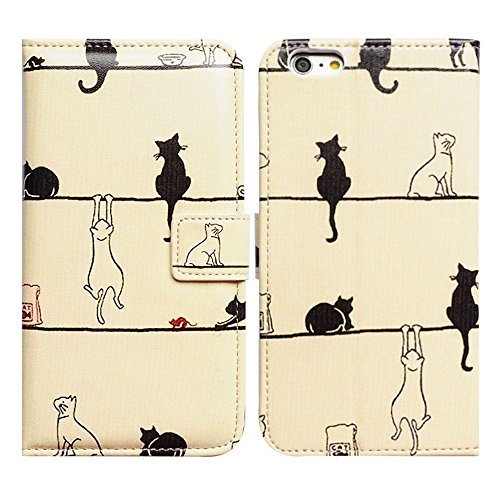 Bfun Packing Bcov Black Cat White Cat Magnetic Card Slot Stand Flip Leather Wallet Cover Case for 4.7 iPhone 6 6S
