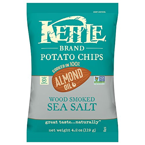 Kettle Almond - Kettle Brand Potato Chips, 100% Almond Oil Wood Smoked Sea Salt, 4.2 Ounce (Pack of 15)