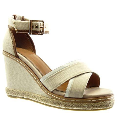 Angkorly - Chaussure Mode Sandale Espadrille bi-matière plateforme femme finition surpiqûres coutures Talon compensé plateforme 10 CM - Beige