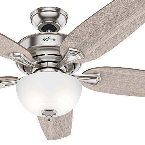 Hunter Fan 54 inch Casual Noble Bronze Indoor Ceiling Fan with Light Kit (Renewed) (Brushed Nickel)