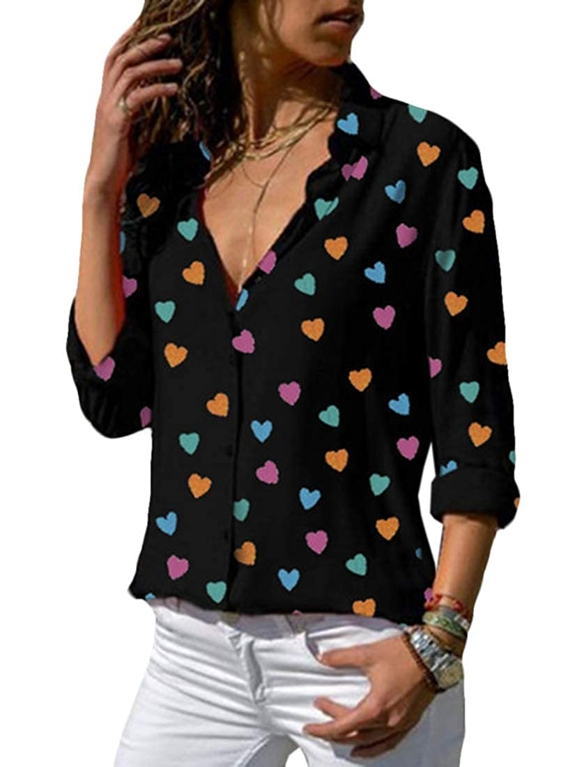 Vska Womens V-Neck Summer Basic Plus Size Cute Heart Chiffon Tops