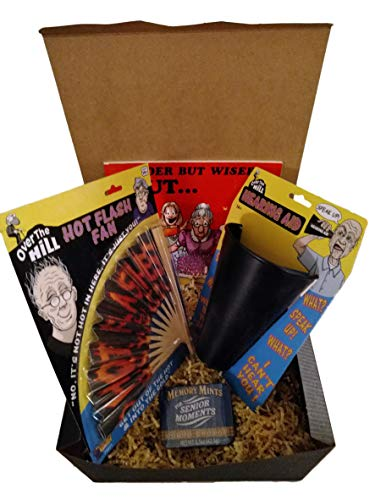 Over The Hill Essentials Gag Birthday Gift Box Bundle with Hearing Aid, Hot Flash Fan, Memory Mints, and Older But Wiser Cartoon Book (4 Items) in Decorative Gift Box - Hill Birthday Gag Gift