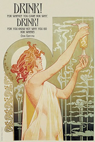 ArtParisienne Drink You Know Not Why You Go, Nor Where Omar Khayyám Henri Privat-Livemont 20x30 Poster Semi-Gloss Heavy Stock Paper Print