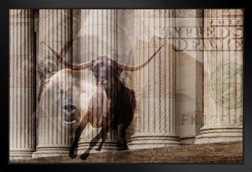 - Bull Bear Money Wall Street Columns Photo Art Print Framed Poster 20x14 inch