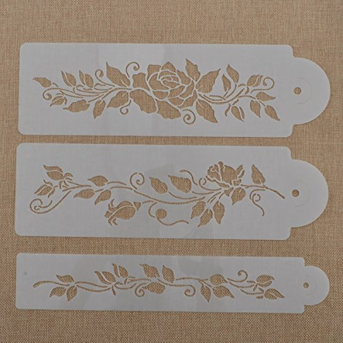 YJ 3pcs tree vine leaves branch out pattern Stencil Cake Decoration Spray Mold, Sugarcraft DIY Molds & die Baking Tools