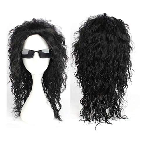 NiceLisa Halloween Party Cosplay Wig Middle Length Curly Rocking Star 80s Male Comic Costume Wig