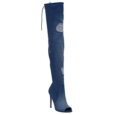 7efa44541f3 X2B Women Peep Toe Over Knee Frayed Denim Rip Torn Destroyed Jean w Tie Lace