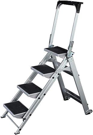 Silla de escalera ligera 4/5 Paso Escalera De Aluminio Escalera Plegable Antideslizante Portátil Escalera For El Hogar Oficina De La Casa Garaje Limpieza Decoración Pintura De La Escala Con La Rueda: Amazon.es: