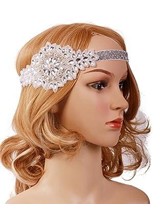 Vijiv Black Silver Art Deco 1920s Flapper Headband Headpiece