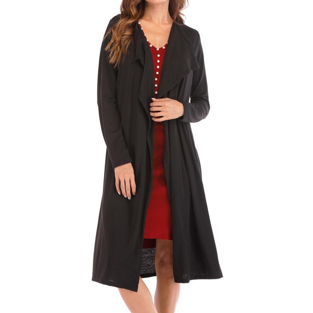 Spbamboo Women's Loose Turn-down Callor Solid Cardigan Fashion Long Sleeve Coat