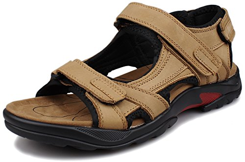 Kunsto Men's Leather Athletic Sport Sandal Flats Shoes US Size 10.5 Khaki