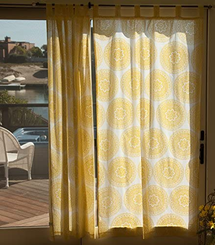 Attiser Yellow Indian Bohemian Sheer Curtain 46 x 63