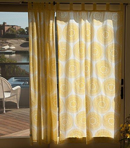 Attiser Yellow Indian Bohemian Sheer Curtain (46