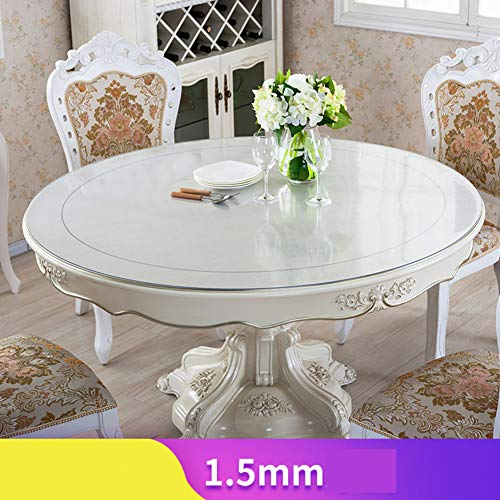 HOMEJYMADE Thick Crystal Transparent PVC Table Cover,Multi-Size Table Protector Wipeable Vinyl Tablecloth PVC for Rectangle Dining Tables-F 70cm(28inch)