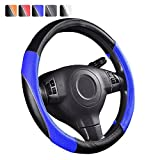 NEW ARRIVAL- CAR PASS RAINBOW UNIVERSAL FIT Steering Wheel Cover With PVC Leather (black with blue)