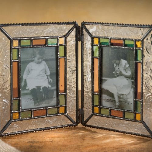 [J Devlin Pic 137-2 Vintage, Sage, & Amber Rose Photo Frame - Holds Two 2x3 Photos] (Two Vintage Glass)