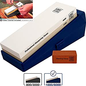 """Premium Knife Sharpener Stone Kit Grits 1000/6000 - Best for Chef, Kitchen & Outdoor Knives - Larger 8.25"""" x 2.75"""" Professional Grade Dual Whetstone. Non-Slip Base, Plastic (No Bamboo) Protective Case"""