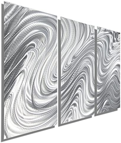 Statements2000 Abstract Modern Large Metal Wall Art Indoor Outdoor 3D Painting Hanging Sculpture by Jon Allen, Silver, 38 x 24 – Hypnotic Sands 3 Piece