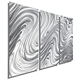 Silver Contemporary Metal Wall Art Sculpture - Modern Abstract Tryptych Wall Decor by Jon Allen - Hypnotic Sands 3 - 38'' x 24''