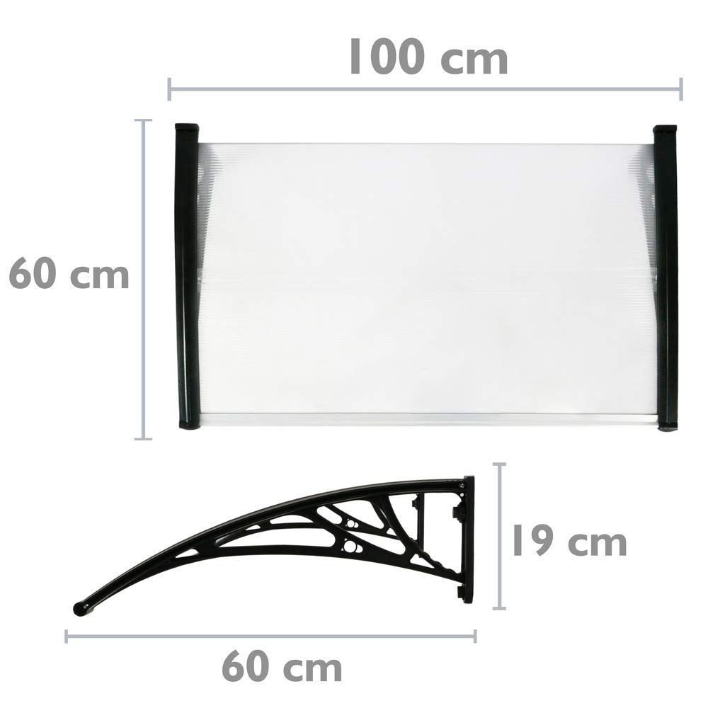 Canopy awning for door and window Patio cover shelter black 100x60cm PrimeMatik