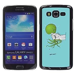 TECHCASE**Cubierta de la caja de protección la piel dura para el ** Samsung Galaxy Grand 2 SM-G7102 SM-G7105 ** Green Hand Cruelty Sad Pain Blue Light