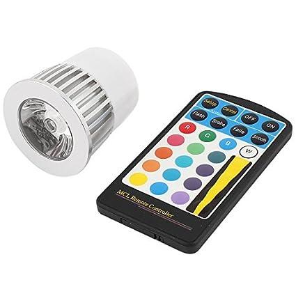 MR16 de control remoto 16 colores bombilla de la lámpara RGB LED 3W DC 12-