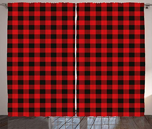 "Ambesonne Plaid Curtains, Lumberjack Fashion Buffalo Style Checks Pattern Retro Style with Grid Composition, Living Room Bedroom Window Drapes 2 Panel Set, 108"" X 63"", Orange Black"