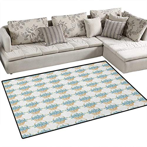 Ivory and Blue,Carpet,Wicker Basket Design with Spring Season Blooming Flowers,Non Slip Rugs,Pale Blue Ivory and Green Size:36