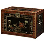 China Furniture Online Jewelry Chest with Hand-Painted Tibetan Floral Motif on Black