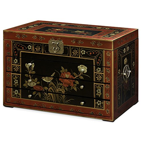 Tibetan Hand Painted Wood Box (China Furniture Online Jewelry Chest with Hand-Painted Tibetan Floral Motif on Black)