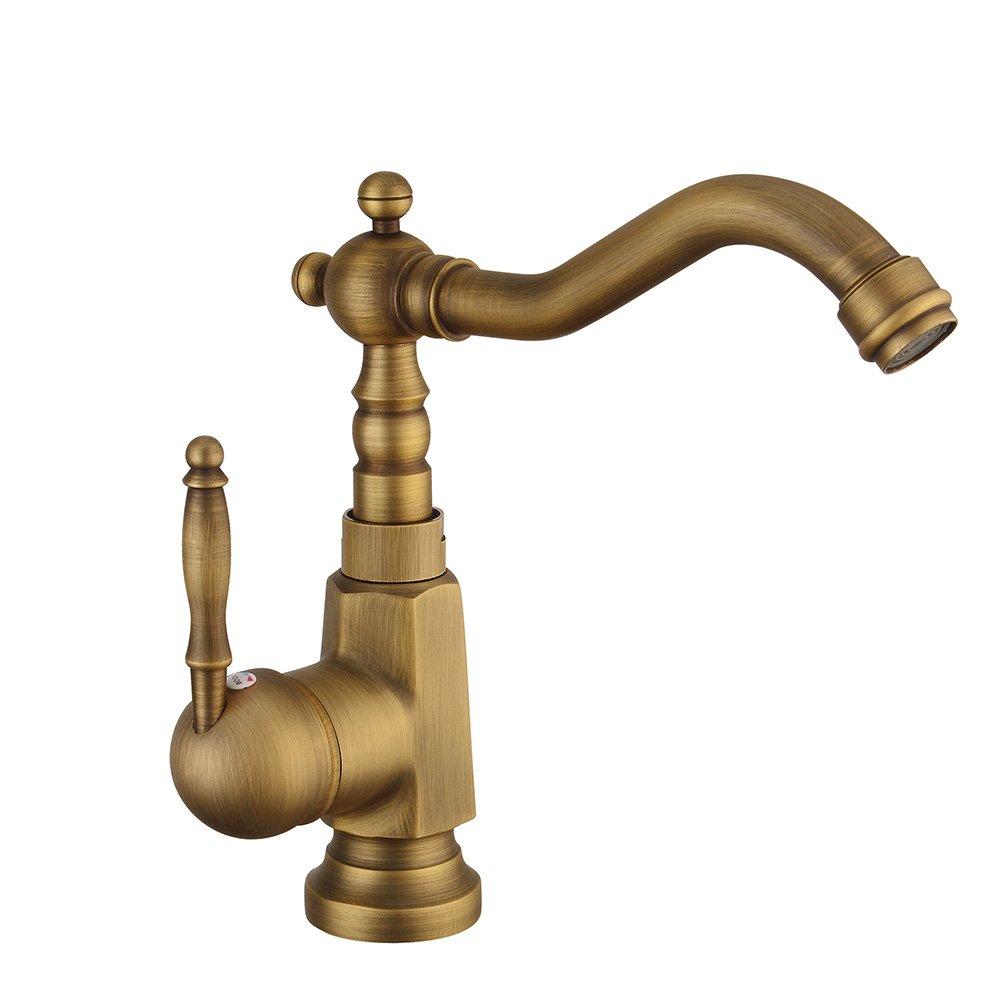 Wan Sheng - Swivel Vintage Gebürstetes Heißes Und Kaltes Wasser Single Head Basin Wasserhahn Küche Bad Wasserhahn (MF-0070 Typ)