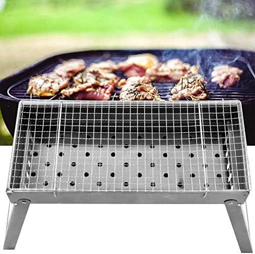 Barbecue Grill, Portable Léger Portable en Acier Inoxydable Pratique pour La Maison Jardin Cour Arrière Partie Pliant Charbon De Bois Grill
