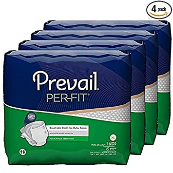 Prevail Per-Fit Adult Briefs, Size X-Large, Full Case of 60