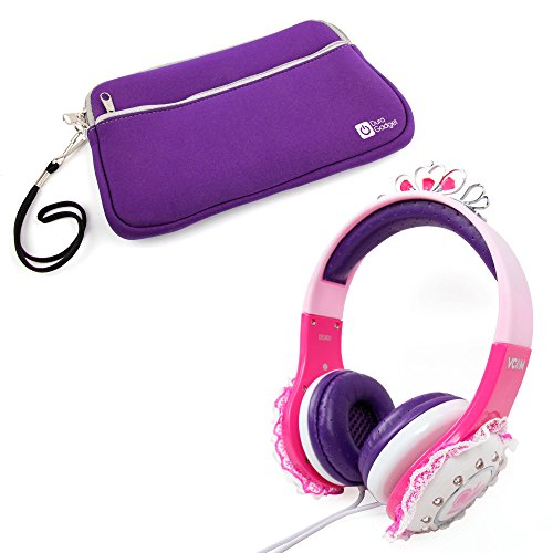 Stylish Children's 'Princess' Tiara Headphones in Pink & Purple with Lace Detail for Samsung Galaxy Tab 3 Lite 7.0 VE & Samsung Galaxy Tab 3 V + BONUS Purple Neoprene Tablet Case! (Frozen Case Tablet 3)