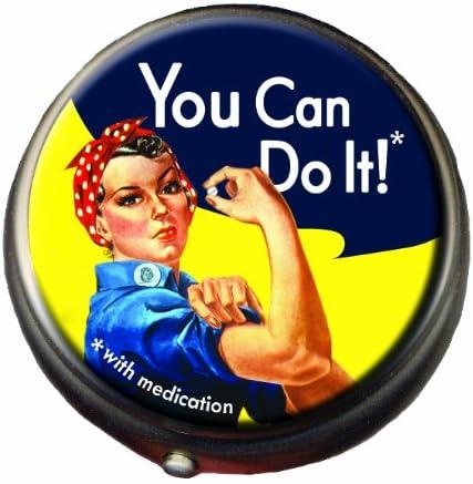 Rosie The Riveter Pill Box - Compact Medicine Case