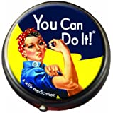 Rosie The Riveter Pill Box - Compact 1 or 2 Compartment Medicine Case