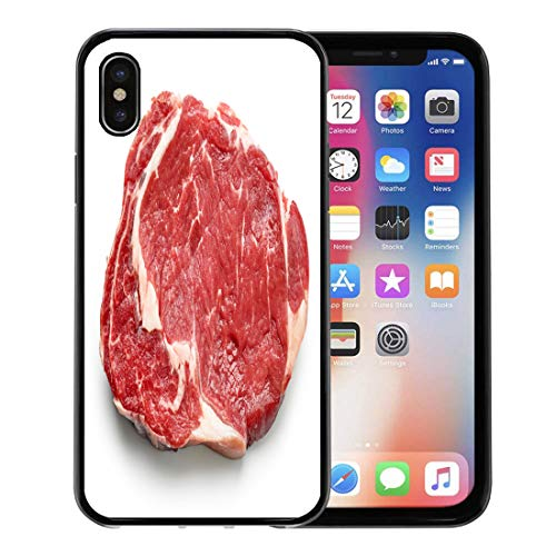 - Semtomn Phone Case for Apple iPhone Xs case,Red Meat Fresh Raw Beef Steak Top View White Entrecote Sirloin Cow for iPhone X Case,Rubber Border Protective Case,Black
