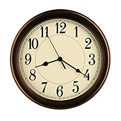8.5 inch Simply High-end Beige Plastic Easy to Read Decorative Wall Clock, Water Resistant, Special for Small Space, Office, Boats, RV (W86381 Vintage Bronze)