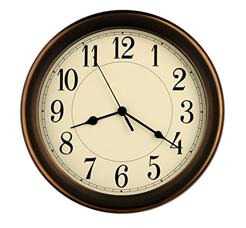 8.5 inch Simply High-end Beige Plastic Easy to Read Decorative Wall Clock, Water Resistant, Special for Small Space, Office, Boats, RV (W86381 Vintage Bronze) (Wall Clocks Bronze)