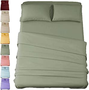 SONORO KATE Bed Sheet Set Super Soft Microfiber 1800 Thread Count Luxury Egyptian Sheets 16-Inch Deep Pocket,Wrinkle and Hypoallergenic-4 Piece (Sage, Full)