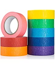Coloured Masking Tape Set, 8 Pack Colored Painters Tape for Arts, Crafts, Paint, Modeling Refill, Labeling or Coding - Art Supplies for Kids – Coloured Duct Tape, 8 Roll, 20mm X 13m