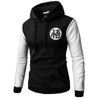 Lu&lu Mens Anime Dragon Ball Z Goku Hoodie Pullover Print Sweatshirt with Kangaroo Pocket Black-