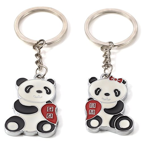 DreamsEden China National Treasure Animal Panda Couple Keychain (With Gift Box) Lovely Pendant Lovers Sweetheart Key Ring Key Chain Best Gift for Valentine Wedding Anniversary (A Pair)