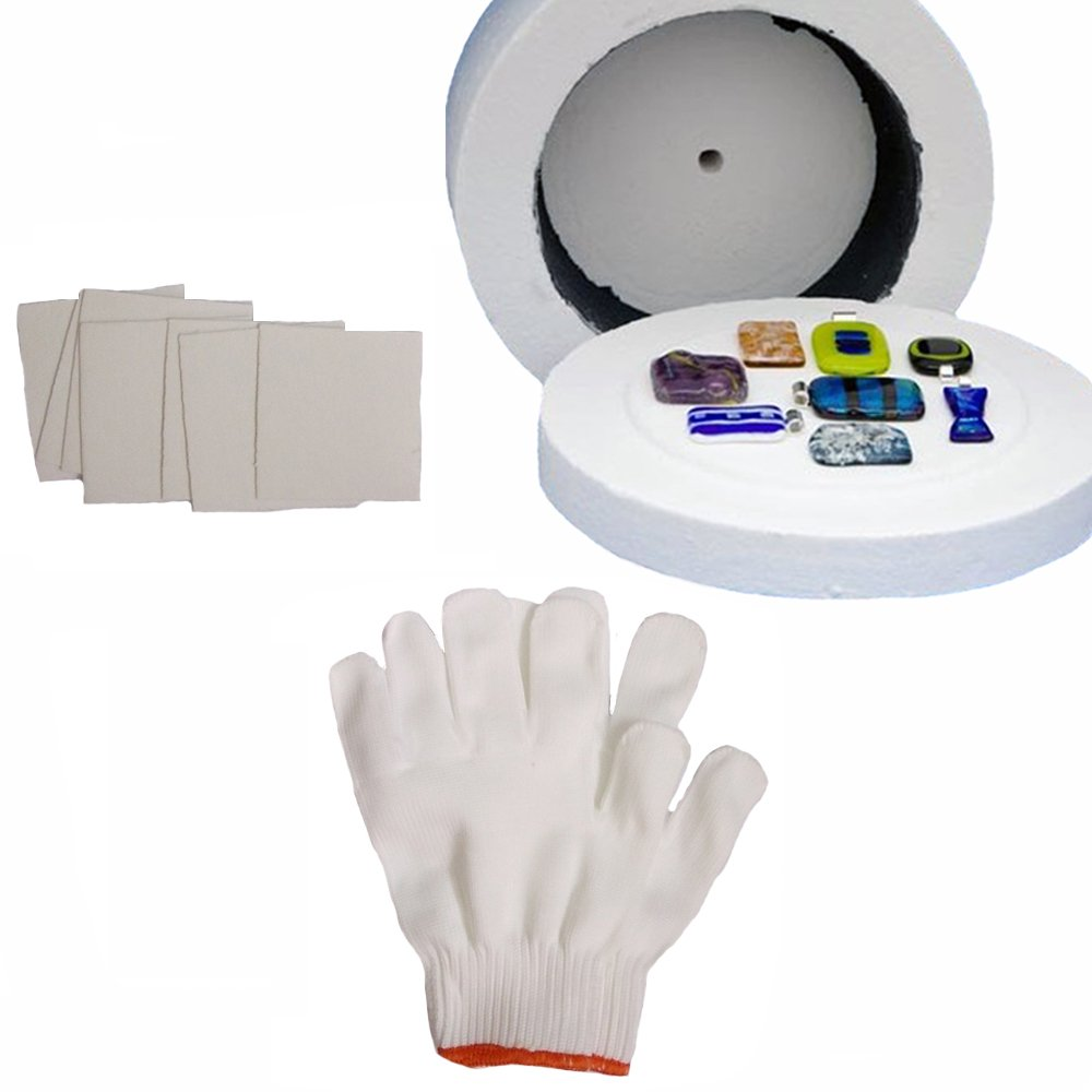 1 Large Microwave Kiln 1 Pair of White Cotton Gloves and 10 Sheets of Kiln Papers by Love Charm