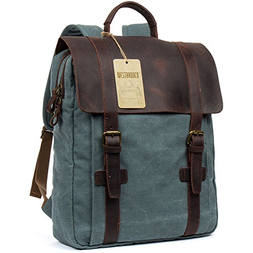 Canvas Real Leather Backpack Vintage Casual School Bag Retro Unisex Travel Bag Fashionable Rucksack Light Blue – WESTBRONCO